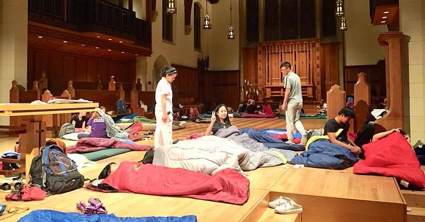 Youth in sleeping bags in the Cathedral