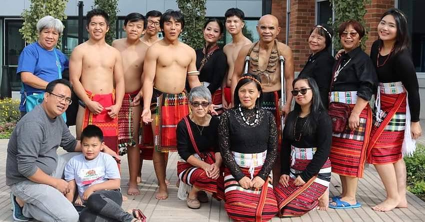 Group photo in traditional outfits from the Philippines